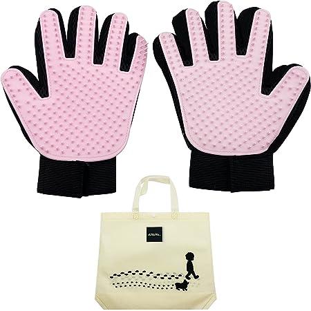 ARkRk ペットブラシ グローブ 抜け毛取り クリーナー 犬 猫 手袋 ブラッシング ブラシ 左右セット マッサージブラシ グルーミンググローブ (ピンク)