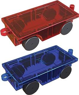 PicassoTiles 2 Piece Car Truck Construction Kit Toy Set Vehicle Educational Magnet Building Tile Magnetic Blocks Puzzle Ma...