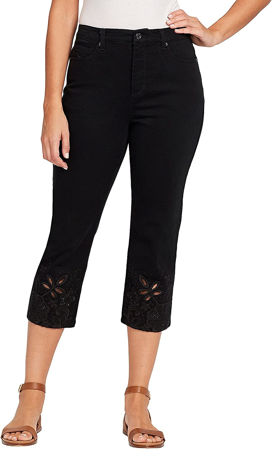 Gloria Vanderbilt Floral Embroidery and Cutout Detail Cuff Cropped Pants