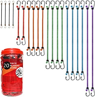 "Premium Bungee Cords Assortment 20 Piece in Storage Jar Includes 10"", 18"", 24"", 30"", 36"", 48"" Bungee Cord"