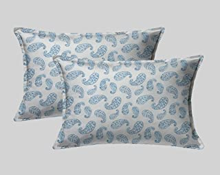 LINENWALAS Cotton 300 TC Pillow Cover, 17 x 27 Inch, Blue, 2 Pieces