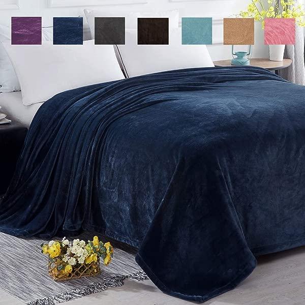 SONORO KATE Fleece Blanket Lightweight Super Soft Cozy Luxury Bed Blanket Microfiber Navy Blue Queen