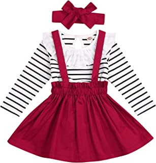 Toddler Girls Christmas Dress Outfits 3pcs Baby T-Shirt Clothes Set Girl Floral Jumpsuit+Strap Skirt Outfits