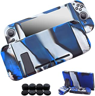 Hikfly Gel de Silicona Agarre Antideslizante Kits de Protección Carcasas Cubrir Piel para Nintendo Switch Consolas y Joy-Con Controlador Con 8pcs Gel de Silicona Empuñaduras Gorras (Azul Camuflaje)