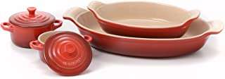 Le Creuset Heritage Cerise Cherry Stoneware 2 Piece Au Gratin Dish Set with 2 Mini Cocottes