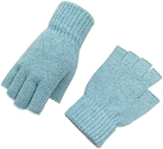 Woogwin Women's Knitted Fingerless Gloves Winter Arm Warmers Thumb Hole Mittens