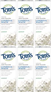 Tom's of Maine Luminous White Toothpaste, Natural Toothpaste, Whitening Toothpaste, Spearmint, 4 Ounce, 6-Pack