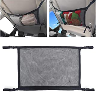 Womdee Car Cargo Net, Ceiling Storage Net Pocket, Double Layer High Elastic Car Rear Cargo Net, Simple Breathable Mesh Zipper Storage Bag Fit for SUV Truck Mini Vans, 31 x 21inches