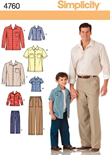 Simplicity 4760 Shirt and Pants Sewing Pattern for Men and Boys A (S-M-L/S-M-L-XL)