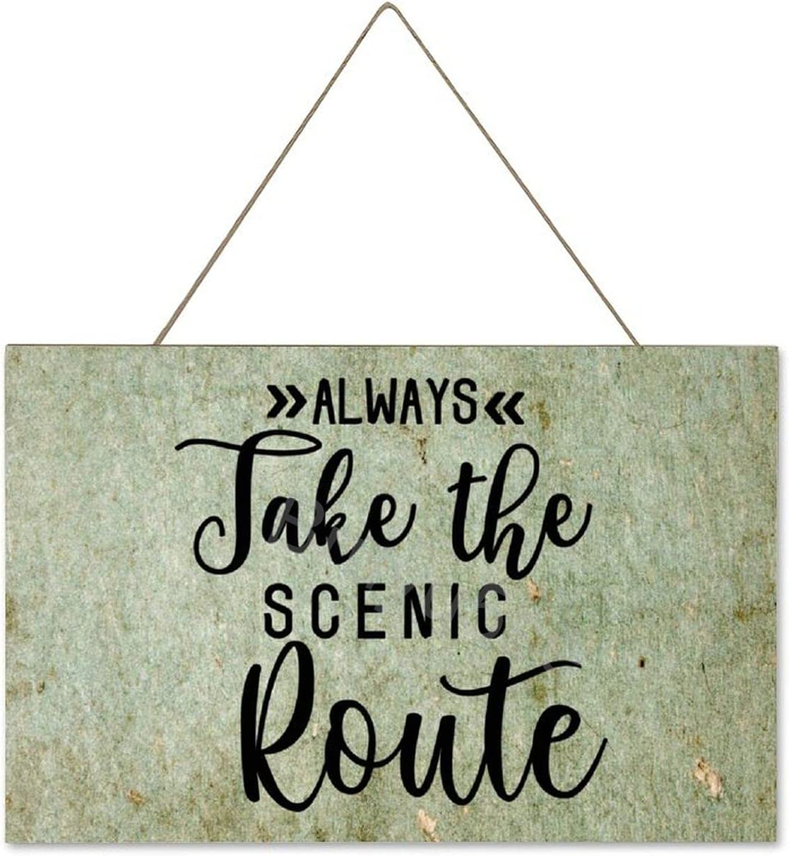 Bruyu5se Farmhouse Wall Hanging Wood Plaque Sign with Funny Quotes Always Take The Scenic Route, Rustic Wall Front Door Home Decorations 10x16 Inch