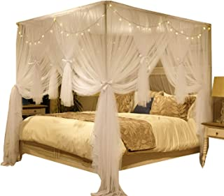 Nattey 4 Corner Poster Princess Bed Curtain Canopy Mosquito Net for Girls Boys Adults - 4 Opening - Bedroom Decoration (Queen, White)