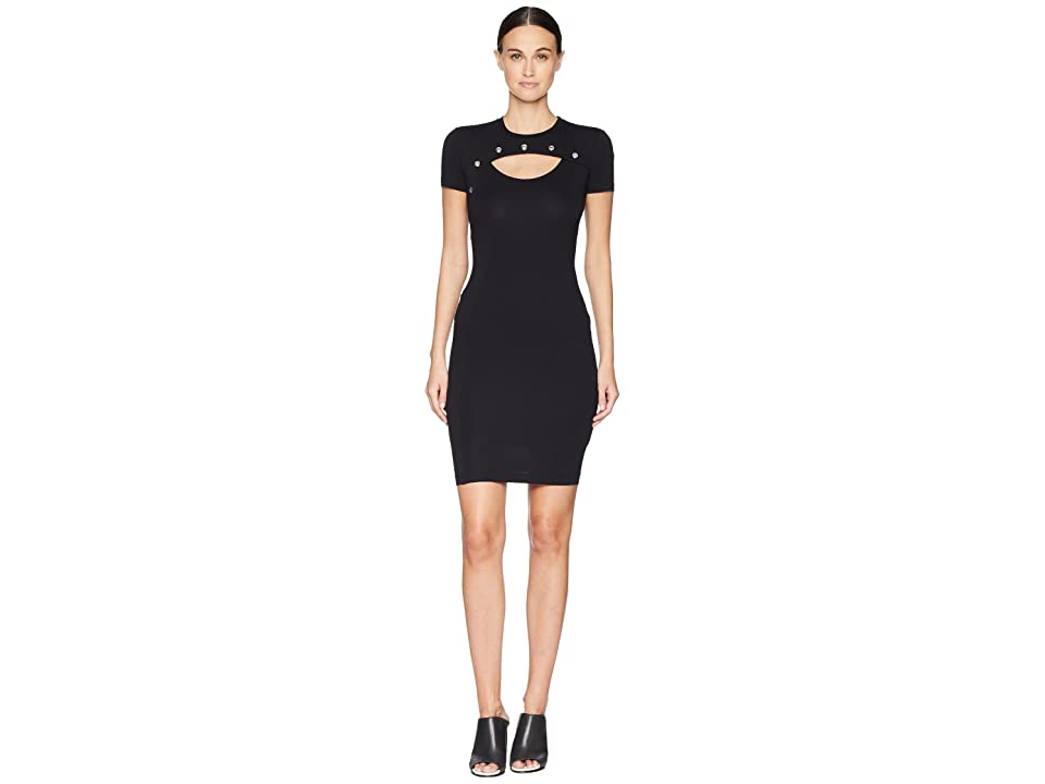 Versace Jeans Couture Short Sleeve Fitted Dress (Nero) Women