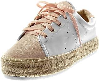 16e5e131e6b6ac Angkorly - Chaussure Mode Baskets Espadrille Sporty Chic Tennis Plateforme  Femme perforée Corde tréssé Talon Plat