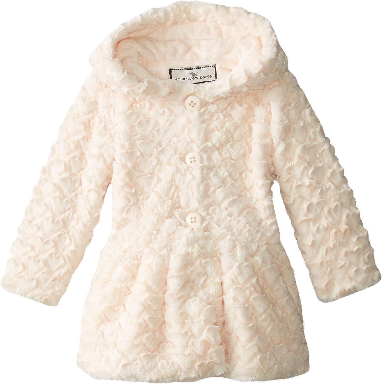 Widgeon Little Girls' Button Front Faux Fur Coat, Heart Ivory, 3, Heart Ivory, Size 3