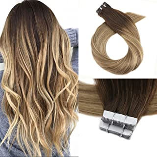 Moresoo 24 Inch Dip Dye Hair Extensions Tape in #3 Brown Fading to #8 Light Brown and #22 Blonde 100g/40pcs Brazilian Remy Human Hair Tape on Hair Seamless Skin Weft Human Hair