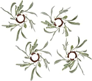 LampLust Christmas Taper Candle Rings - Set of 4, Mistletoe Wreaths with Pearl Accents, for Holiday Parties and Home Decor