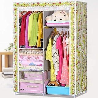 HWG Armoire en Toile Armoires en Tissu Organisateur De Rangement De Vêtements avec 2 Rails De Suspension Et 4 étagères pou...