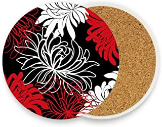 Custom Daisy Floral Printed Absorbent Coaster For Drinks Ceramic Thirsty Stone With Cork Back Fit Big Cup, No Holder Parck 1