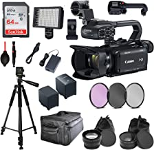 Canon XA15 Compact Full HD Camcorder with Pro Video Bundle Package Deal Kit Includes SanDisk 64gb Card + Extra Replacement Battery + 3pc Filter Kit + More