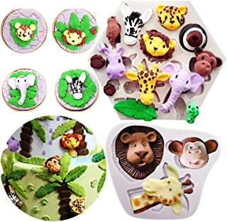 Yawooya Safari Animal Mold Fondant- Forest Woodland Animals Cake Decorating Wild Zoo Silicone Mold for Chocolate Candy Gum Paste Clay Sugar Craft Cupcake Topper Supplies (Elephant Lion Giraffe Monkey