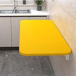 壁掛け折りたたみテーブル、木製キッチン&ダイニングテーブル、コンピュータデスク学習ブックテーブル、ダブルサポートウォールテーブルテーブルサイドテーブルホームカウンターテーブル、黄、スタンド付き(100x30cm/39x12in)