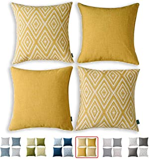 HPUK Set of 4 Decorative Throw Pillow Covers Geometric Design Cushion Pillowcases for Couch Sofa Bed Car, 17x17, Ochre