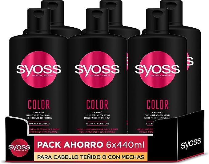 Syoss - Champú Color - 6uds de 440Ml (2.640ml) – Para cabello teñido o con mechas – Protege la intensidad del color hasta 12 semanas - Cabello como ...