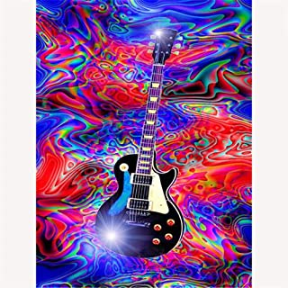 DIY Oil Painting, Paint by Numbers for Adults, Full Set of Accessories, 16 by 20 Inch,Music Guitar