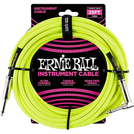 Ernie Ball Instrument Cable, Neon Yellow, 25 ft