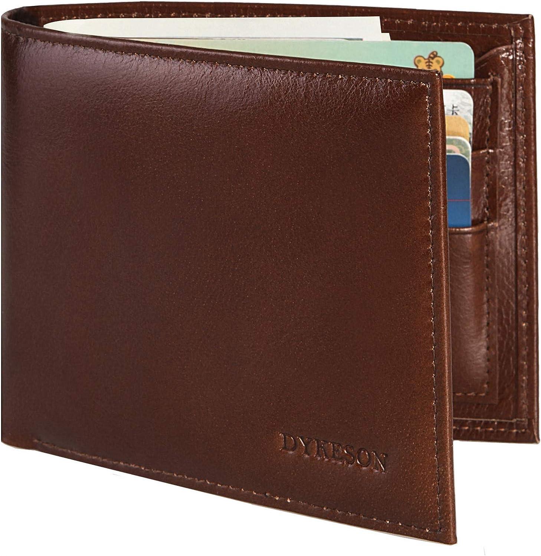 DYKESON Italian Genuine Leather Men's Wallet Slim Bifold 2 ID Windows Travel Wallet with RFID Blocking, 11 Card Holders T6 (Coffee#3)