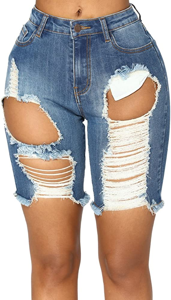 LIYT Women's Juniors Slim Fit Destroyed Ripped Stretchy Denim Shorts Jeans