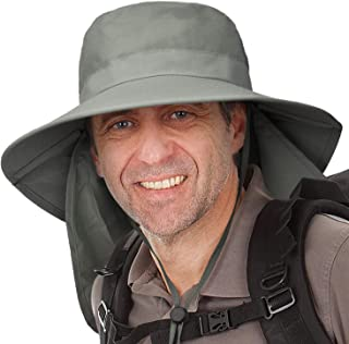Wide Brim Hat for Men,Outdoor Sun Protection Hat with Neck Flap Cover for Fishing Hiking Camping Hunting Boating Safari Gardening Working