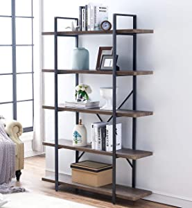 "O&K Furniture 5-Tier Industrial Style Bookshelf, Wood and Metal Bookcases Furniture, 70"" H Gray- Brown"