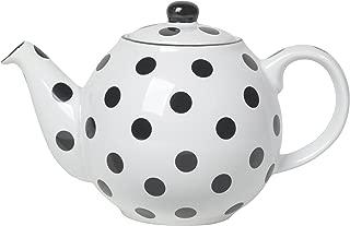 London Pottery Medium Globe Teapot, 6 Cup Capacity, White with Black Polka Dots