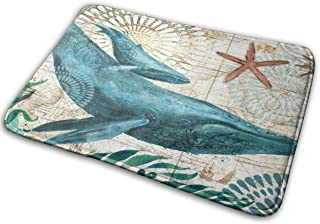 Whale Bath Mat Painted Ocean World Non-Slip Doormat for Indoor Entrance Bathroom Kitchen Living Room Home Decoration,Carpe...