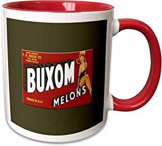 3dRose 171115_5 Buxom Brand Melons Produce Of Usa With Pretty Country Pin Up Girl Two Tone Mug, 11 oz, Red
