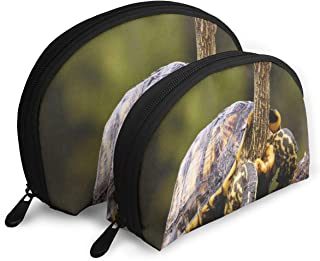 Makeup Bag Cute Turtle Brown Portable Half Moon Cosmetic Bags Set Case For Women,Girls 2 Piece
