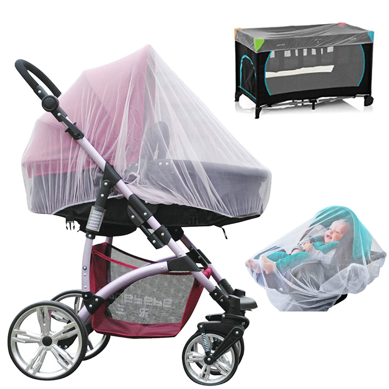 NEPAK 3 Pack Mosquito Net for Baby Stroller,Fits Crib,Car Seat and Infant Carrier,Bassinet,Elastic,Breathable(White)