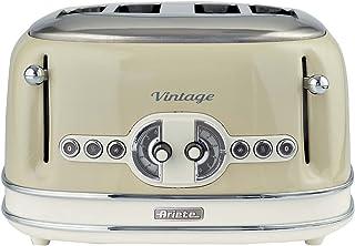 Ariete Vintage 156 Grille-pain 4 tranches, 1600 watts, 6 niveaux de grillage, en acier inoxydable peint en couleur beige p...