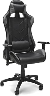 Essentials Racing Style Leather Gaming Chair - Ergonomic Swivel Computer, Office Or Gaming Chair, Gray