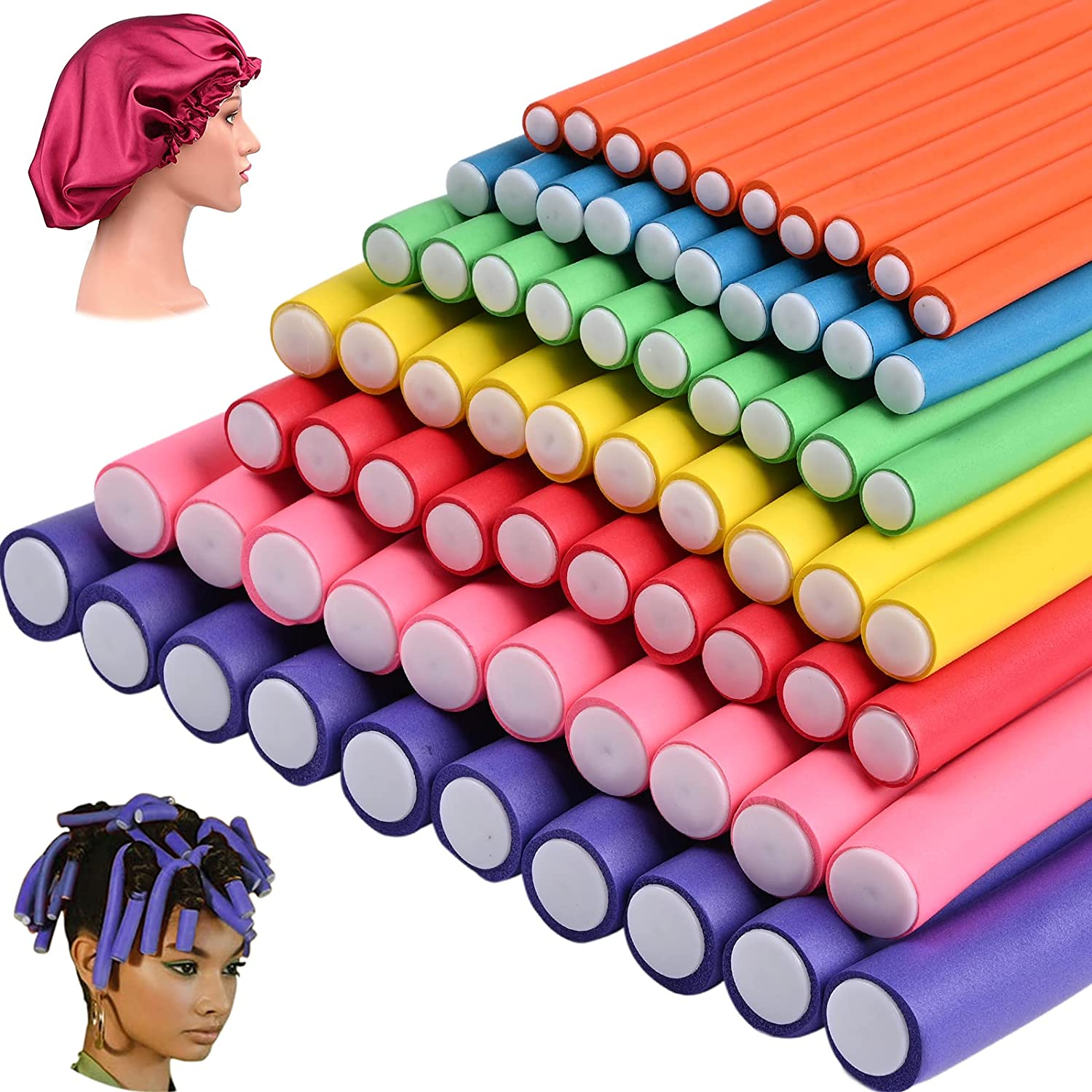 70 Pack 9.4 Inch Flex-rods Hair 35% OFF Rollers+Silk Tw Bonnet Cap Sleep Today's only