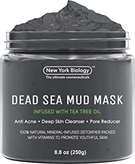 New York Biology Dead Sea Mud Mask for Face and Body Infused with Tea Tree - Spa Quality Pore Reducer for Acne, Blackheads...