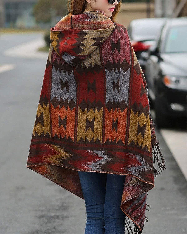 Damen Umhang Mit Kapuze Vintage Ethno-Style Aufdruck Gemustert Cape Mantel Cute Chic Loose Casual Tassels Mit Warme Poncho Outerwear Herbst Winter Braun