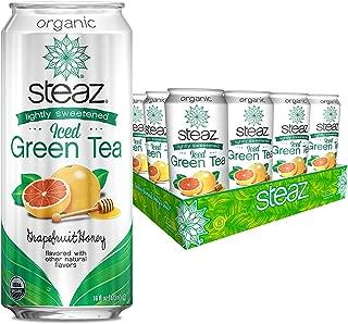 Steaz Lightly Sweetened Iced Green Tea, Grapefruit Honey, 16 OZ (Pack of 12)