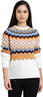 Zink London Multi-Coloured Polyester Aztec Design Raglan Sweater Top for Women