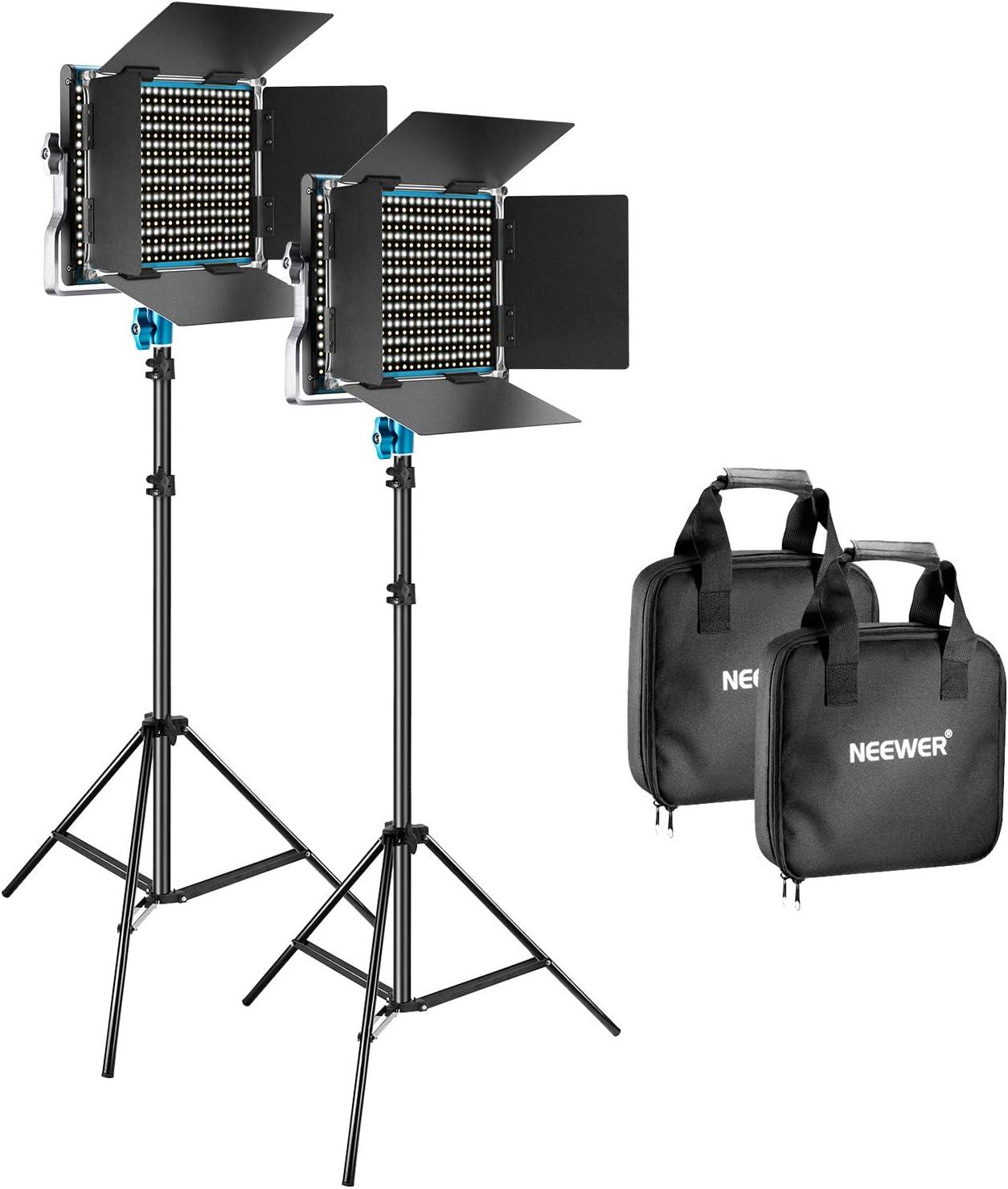 Neewer 2 Packs 660 LED Luz Video y Fotografía Soporte Kit Iluminación Panel LED Intensidad Regulable (3200-5600K, CRI 96+, Azul) con Soporte Luz Servicio Pesado para Estudio Retratos