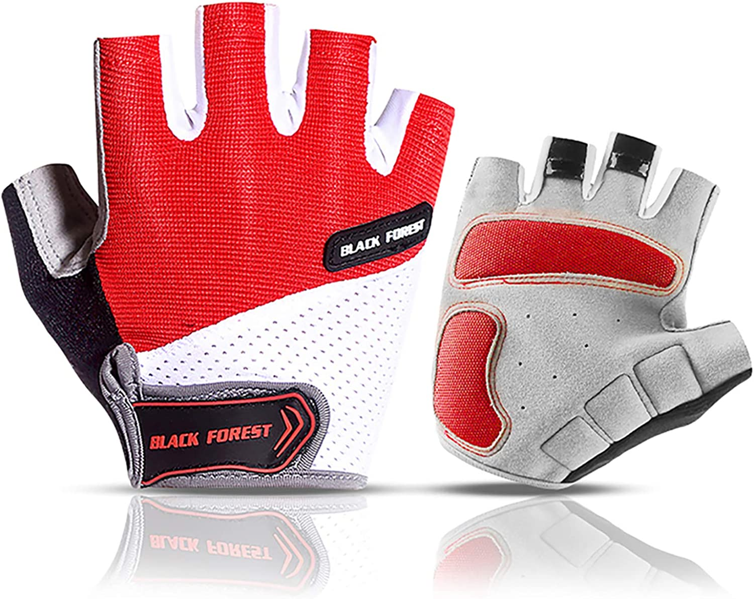 Cycling Gloves Mountain Bike//Road Bike Riding Gloves Half Finger Biking Gloves Gym Gloves Anti Slip Shock Absorbing Padded Breathable Half Finger Short Sports Gloves Fits for Men or Women