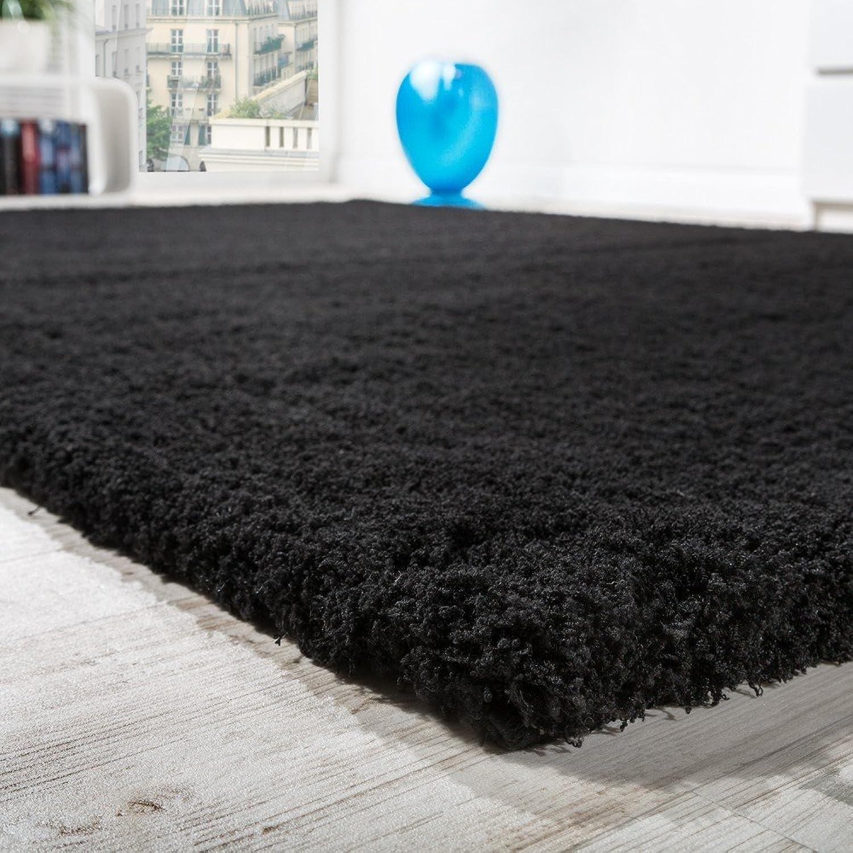 Paco Home Home Home Shaggy Teppich Micro Polyester Wohnzimmer Teppiche Elegant Hochflor Schwarz, Grösse Ø 160 cm Rund B01B1UI8GU 880856