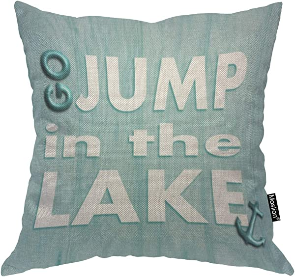 Moslion Throw Pillow Cover Go Jump In The Lake 18x18 Inch Fashion Phrase Blue White Square Pillow Case Cushion Cover For Home Car Decorative Cotton Linen