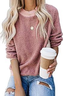 kenoce Women's Casual Fluffy Fleece Long Sleeve Winter Warm Patchwork Zip Oversized Tops Hoodie Sweatshirt Pullover with P...